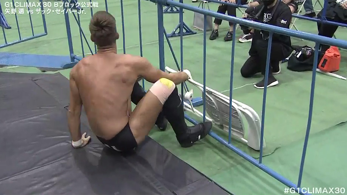 NJPW G1 Climax Night 12: Sabre Jr. wrestles a steel chair