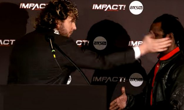 Impact: Omega and Swann exchange words and then fists in intense press conference
